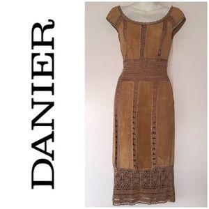 Danier Suede Crochet Boat Neckline Midi Dress 0